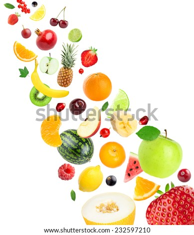 Fresh healthy fruits collection on white background