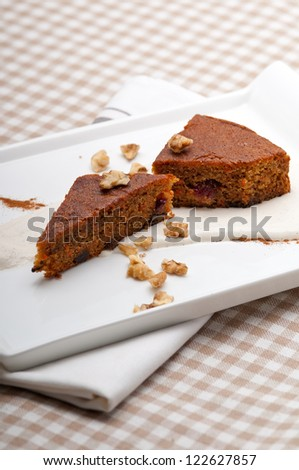 fresh healthy home made carrots and walnuts cake dessert