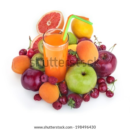 fresh healthy multivitamin juice with several fruits - stock photo