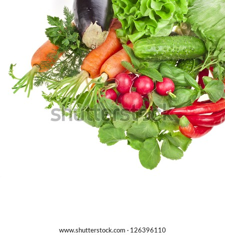fresh healthy vegetable isolated on white background - stock photo