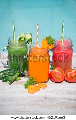 Fresh Healthy Vegetables Fruits Smoothie Glass Jar Vitamins Summer Season