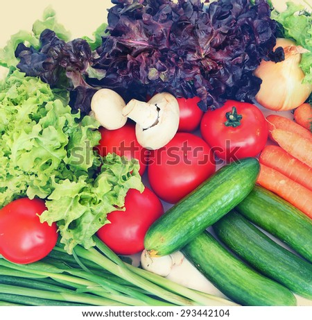 Fresh healthy vegetables. Image done in vintage instagram style - stock photo