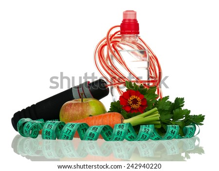 Fresh healthy vegetables isolated on white background - stock photo