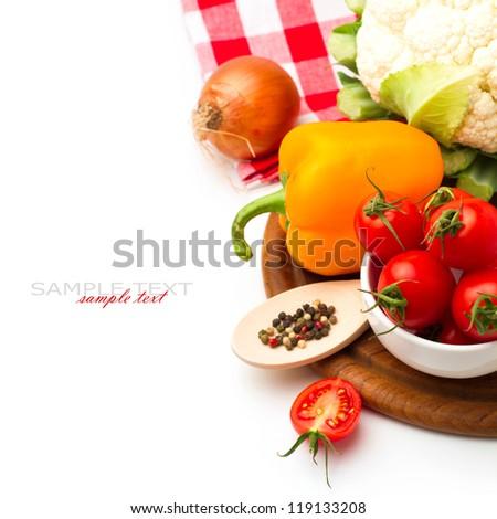 Fresh healthy vegetables on white background - stock photo