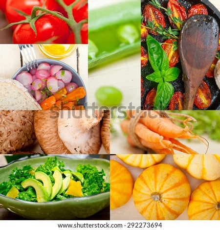 fresh healthy vegetables selection food collage composition  - stock photo