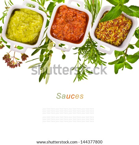 fresh  herbs and cooking sauces in white bowls isolated on a white background  with sample text - stock photo