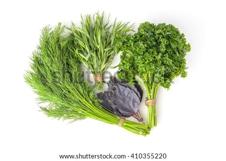 Fresh herbs collection isolated on a white background - stock photo