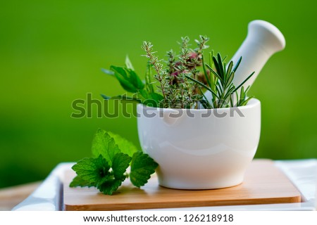 Fresh herbs in the mortar - alternative medicine - stock photo