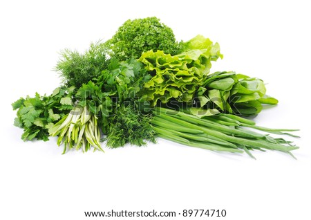 Fresh herbs isolated on white - stock photo