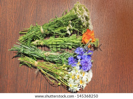 fresh herbs on brown background - stock photo