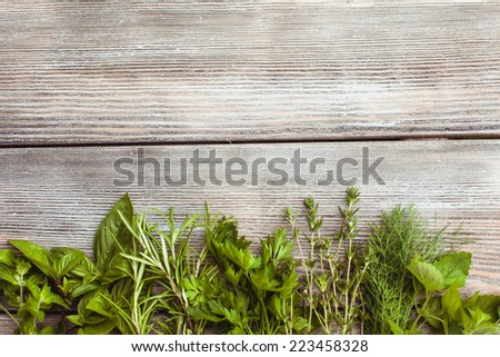 Fresh herbs on the wooden background with copy text - stock photo