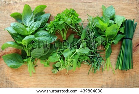 Fresh herbs on wooden background, view from above