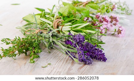 Fresh Herbs on  wooden table. Selective focus