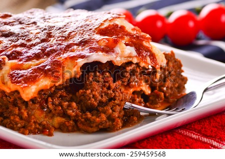 Fresh home cooked delicious beef lasagna - stock photo