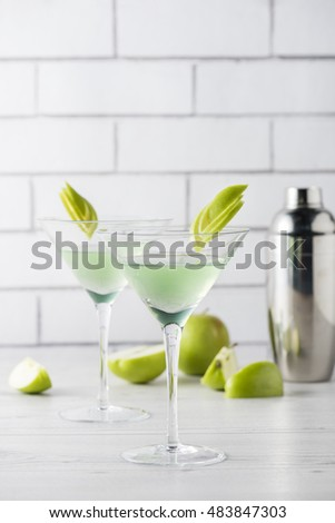 Fresh home made Apple Martini cocktails with garnish