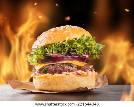 Fresh home-made hamburgers served on black stone. Fire flames around