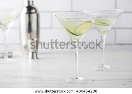 Fresh home made Margarita cocktails with lime