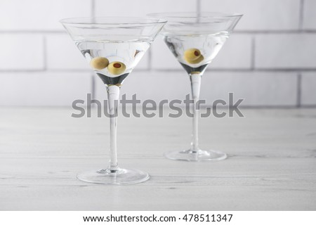 Fresh home made vodka martini cocktails with olives