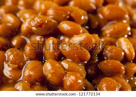 Fresh Homemade BBQ Baked Beans on a background - stock photo