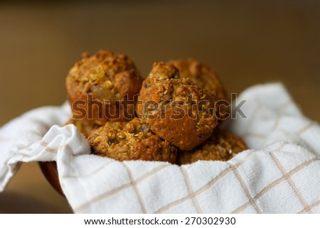 Fresh homemade bran muffins - stock photo