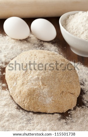 Fresh Homemade Bread Dough covered in flour