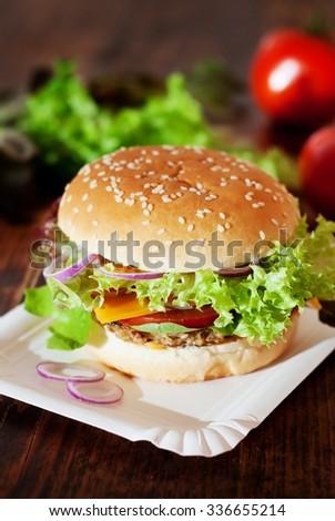 Fresh Homemade Burger / Vegetarian Burger - stock photo