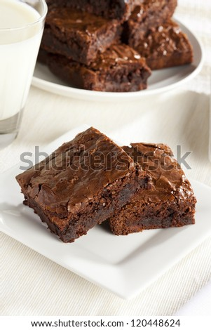 Fresh Homemade Chocolate Brownie against a background - stock photo