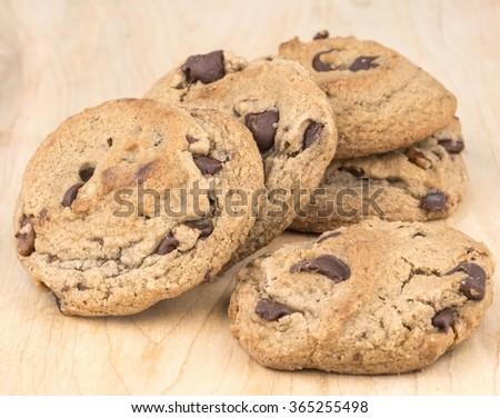 Fresh homemade chocolate chip cookies - stock photo