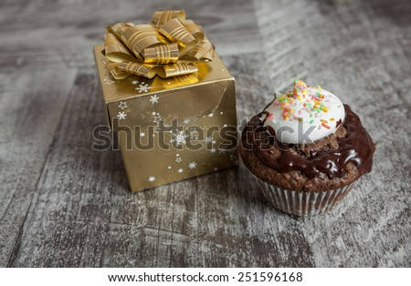 Fresh homemade chocolate muffin - stock photo