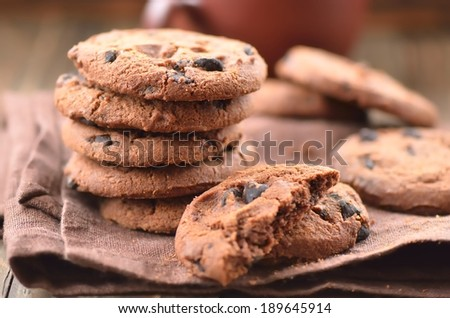 Fresh homemade cookies on a brown napkin - stock photo