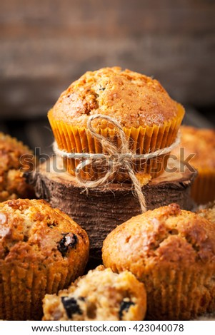 Fresh homemade delicious carrot muffins with dried fruits  and nuts  - stock photo