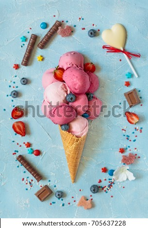 Fresh homemade fruit ice cream with sweet ingredients.