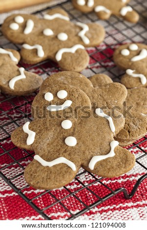 Fresh Homemade Gingerbread Men ready for the Holidays - stock photo