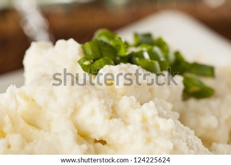 Fresh Homemade Mashed Potatoes against a background - stock photo