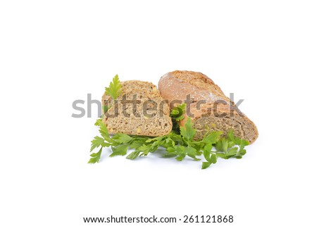 fresh homemade natural bread with vegetables on white  - stock photo
