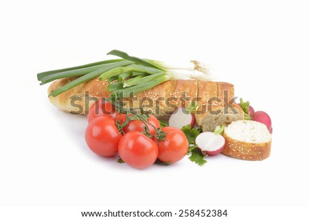 fresh homemade natural bread with vegetables  on white background - stock photo