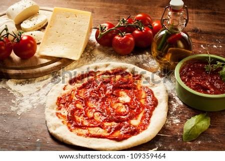 fresh homemade pizza - stock photo