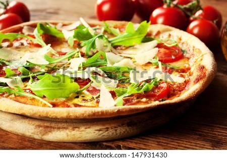 Fresh Homemade Pizza Arugola - stock photo