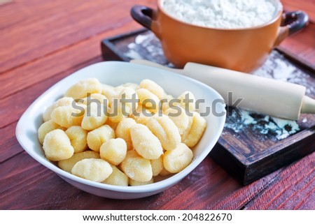 Fresh homemade potato gnocchi  - stock photo