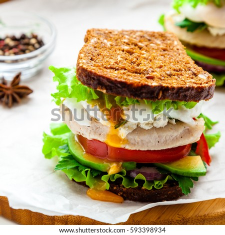 Fresh Homemade Sandwich With Cereals Dark Rye Grain Bread Salad Lettuce Avocado Tomato