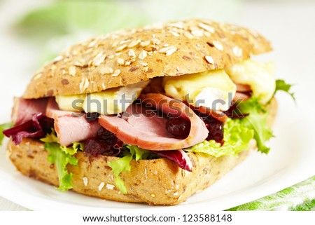 Fresh Homemade Smoked Turkey Sandwich - stock photo