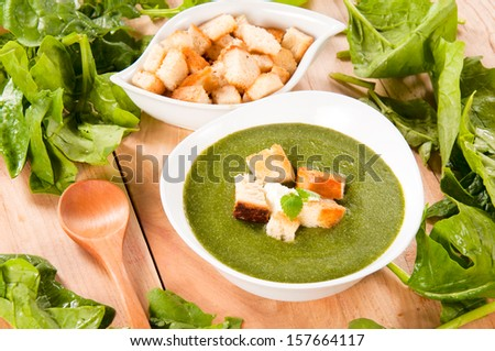 Fresh homemade spinach soup in the bowl