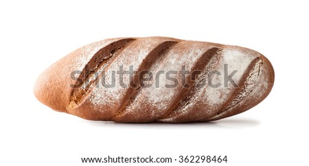 fresh homemade whole rye bread , isolated on white - stock photo