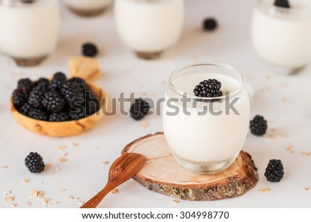fresh homemade yoghurt with berries on rustic wooden background - stock photo
