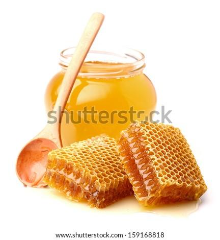 Fresh honey with honeycomb