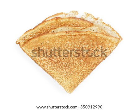 fresh hot blinis or crepes isolated on white background
