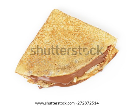 fresh hot blinis or crepes  with chocolate spread isolated on white - stock photo