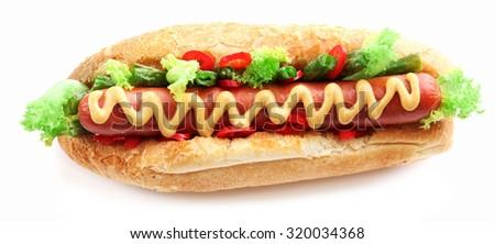 Fresh hot dog isolated on white - stock photo