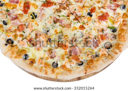 fresh hot fast food - slices of pizza closeup from top - stock photo