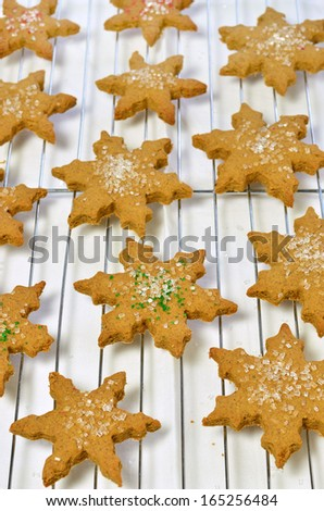 Fresh, hot. homemade star shaped gingerbread cookies on cooling rack